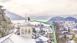 neue Turmspitze in Spiez